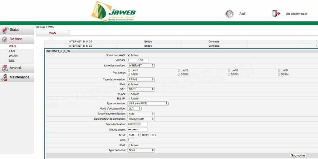 Configuration du modem Djaweb d'Algérie Télécom